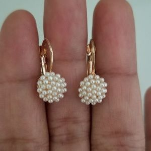 Jewelry - 18kt Yellow Gold Plated Pearl Hoop Earring